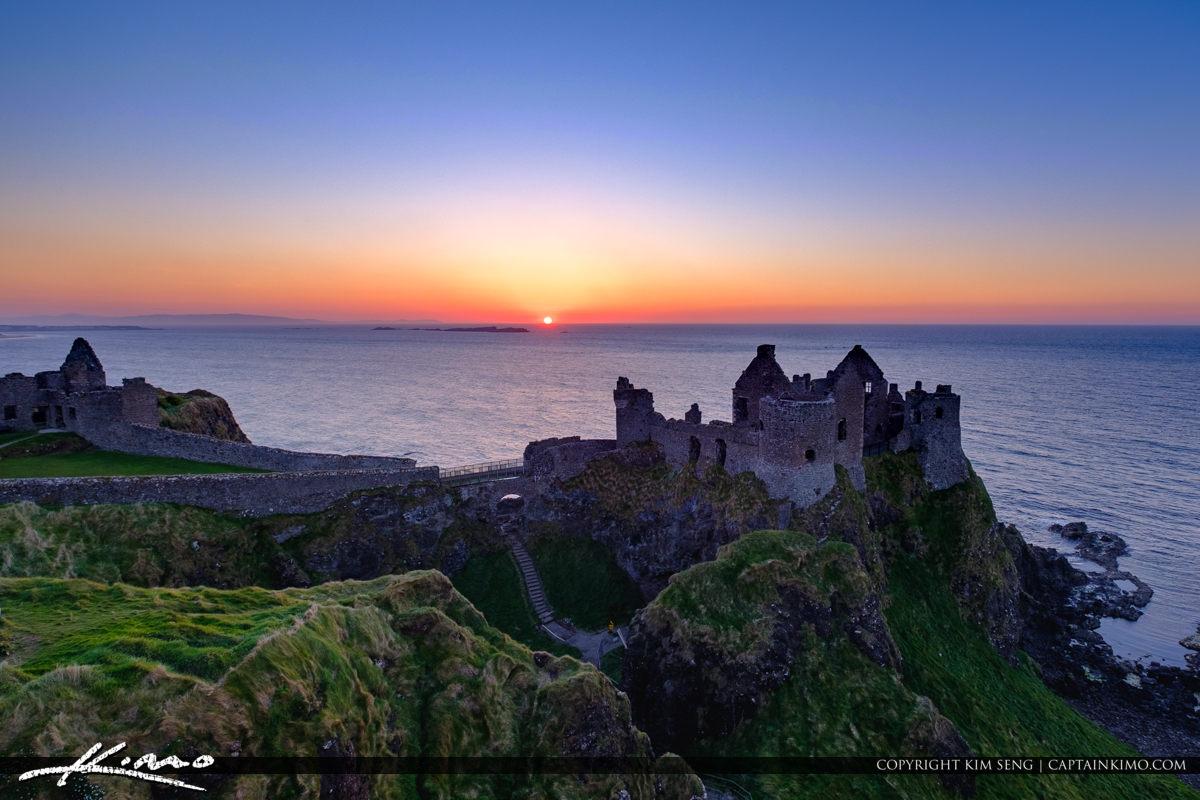 Dunluce Castle Northern Ireland Ocean Sunset