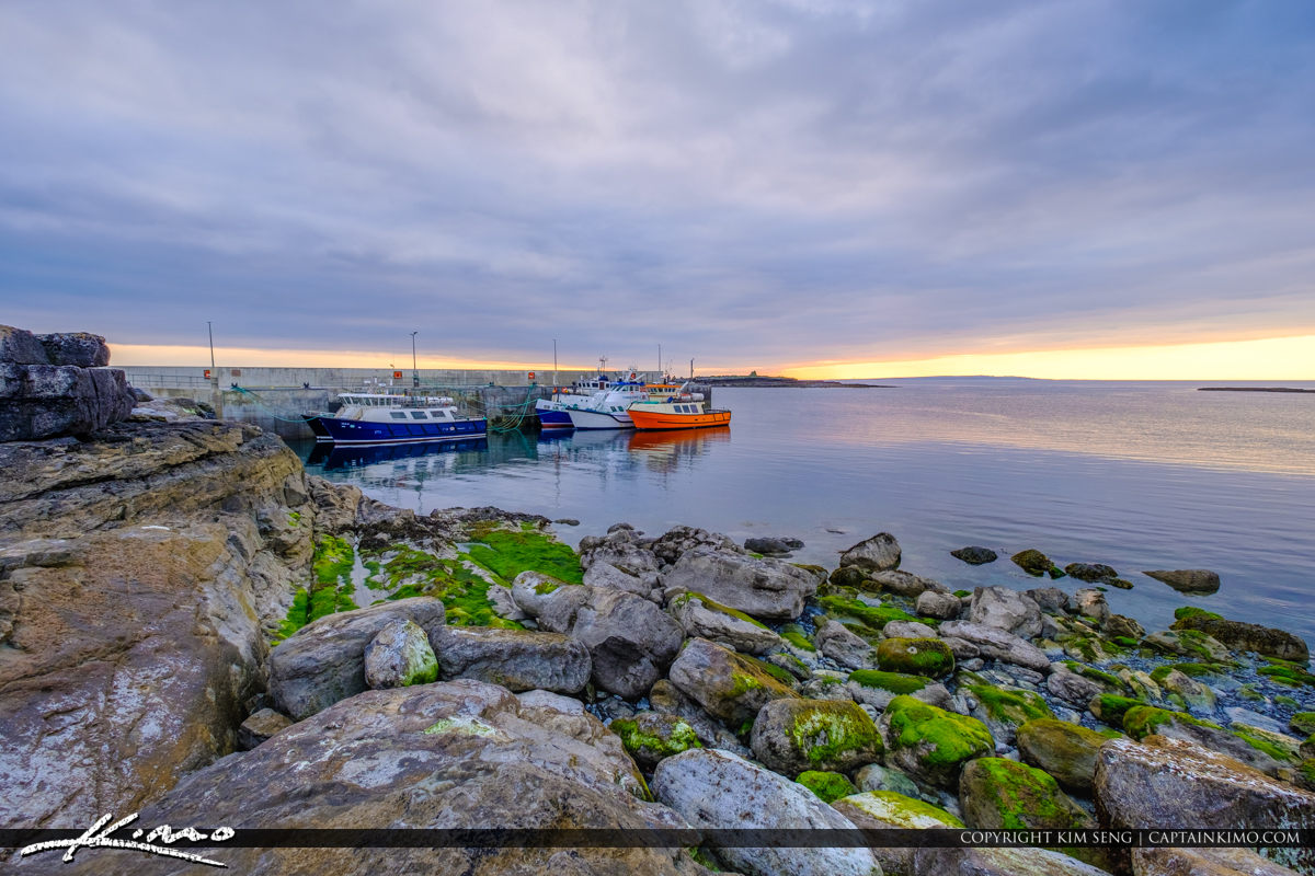Island Ferry Doolin Ireland Boats and Green Rocks