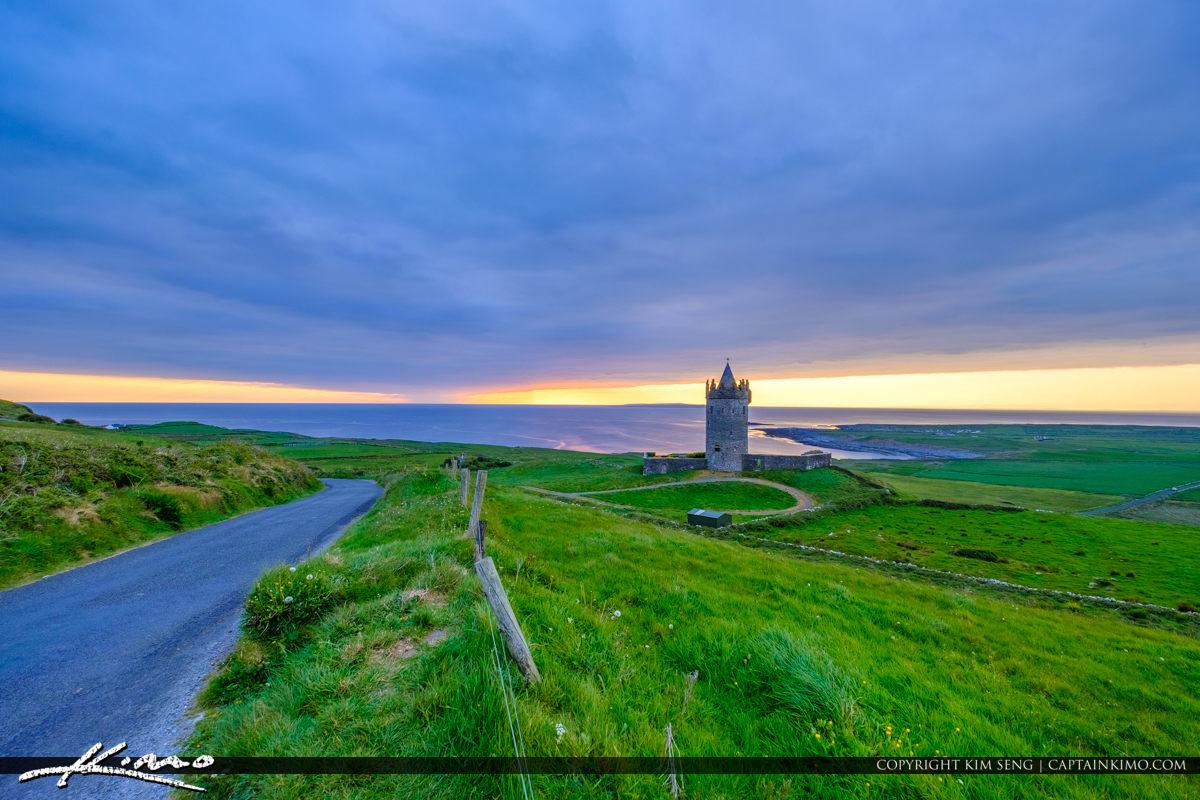 Sunset Doonagore Castle Ballycullaun Ireland