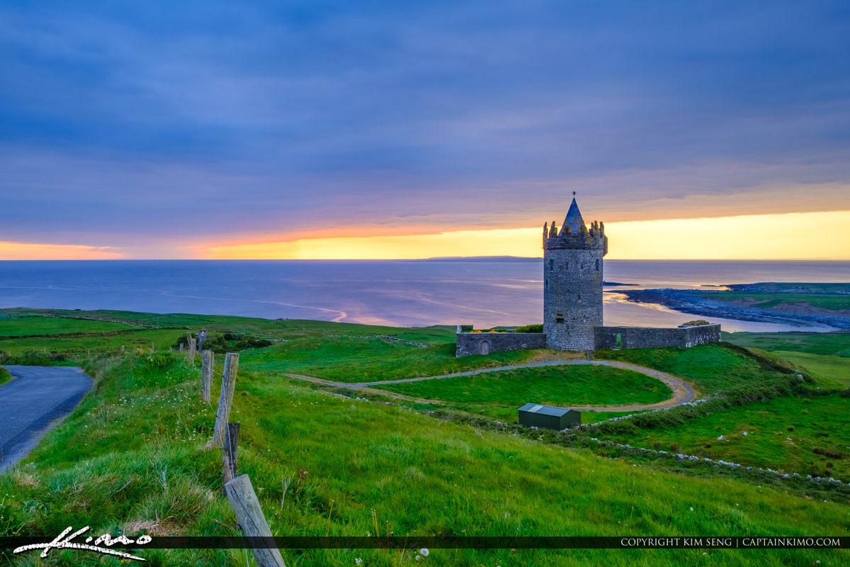 Sunset Road Doonagore Castle Ballycullaun Ireland