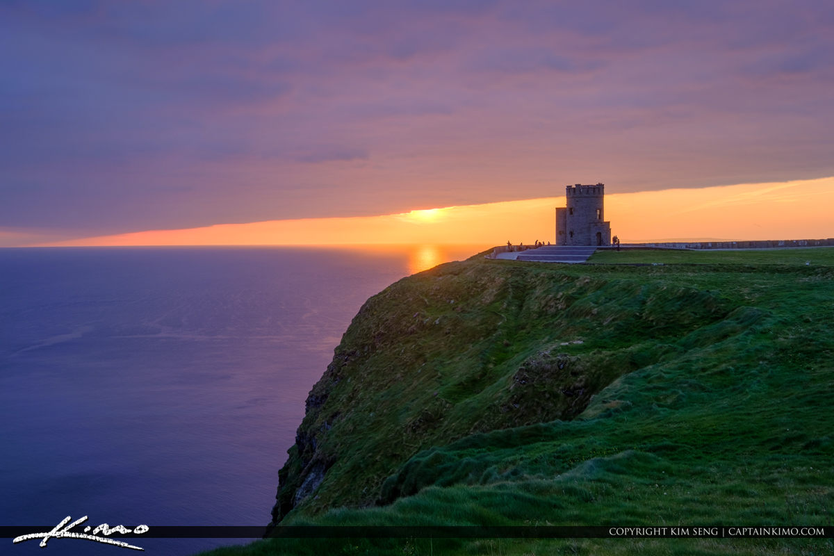 Cliffs of Moher County Clare Ireland Sunset Over O Brien Tower