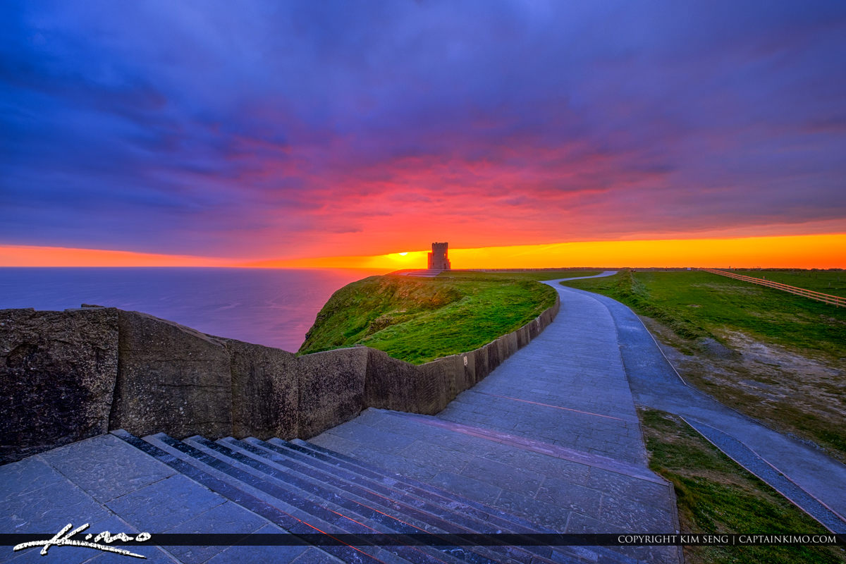 Stairway to the Tower at Cliffs of Moher County Clare Ireland