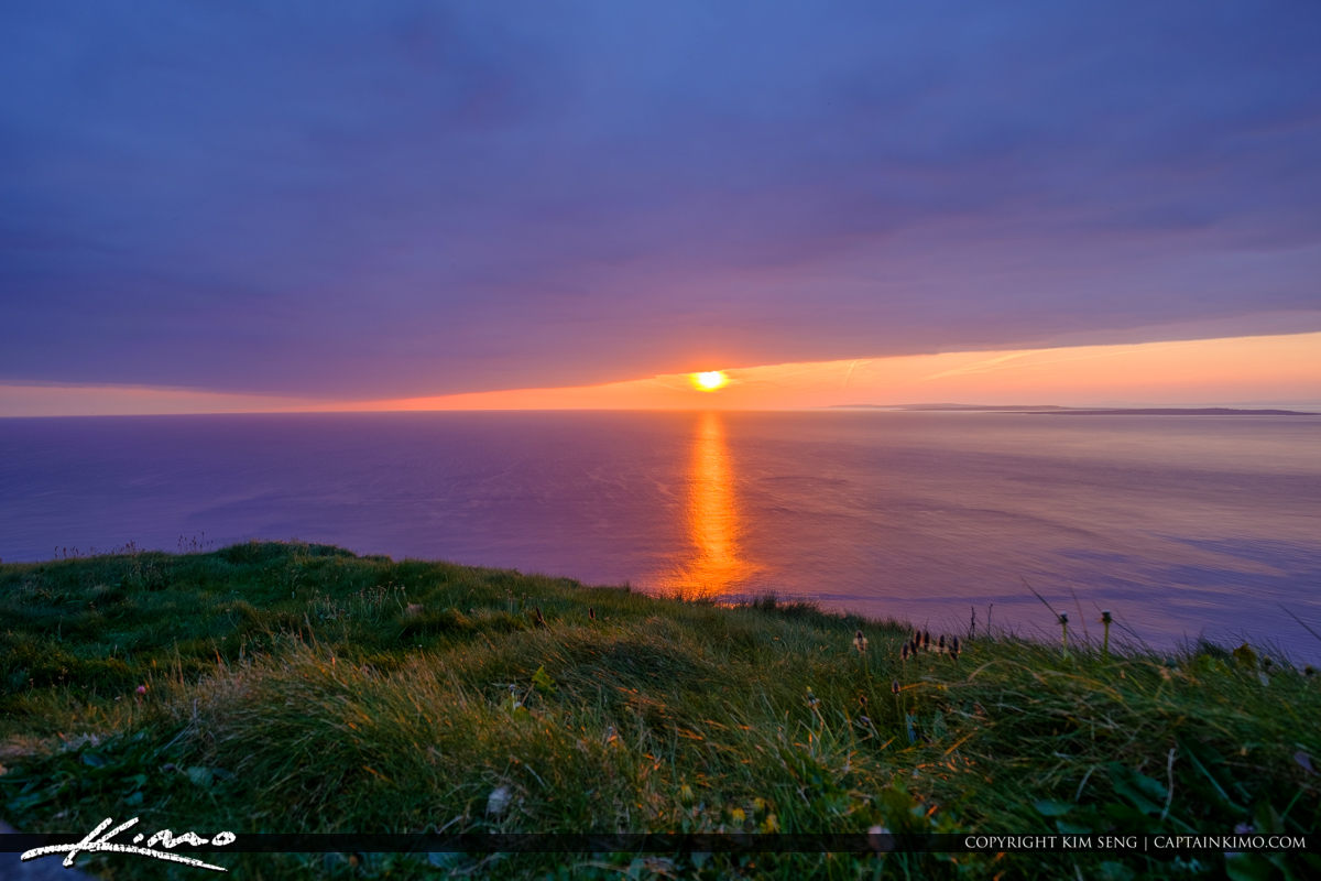 Sunset over the OCean Cliffs of Moher County Clare Ireland