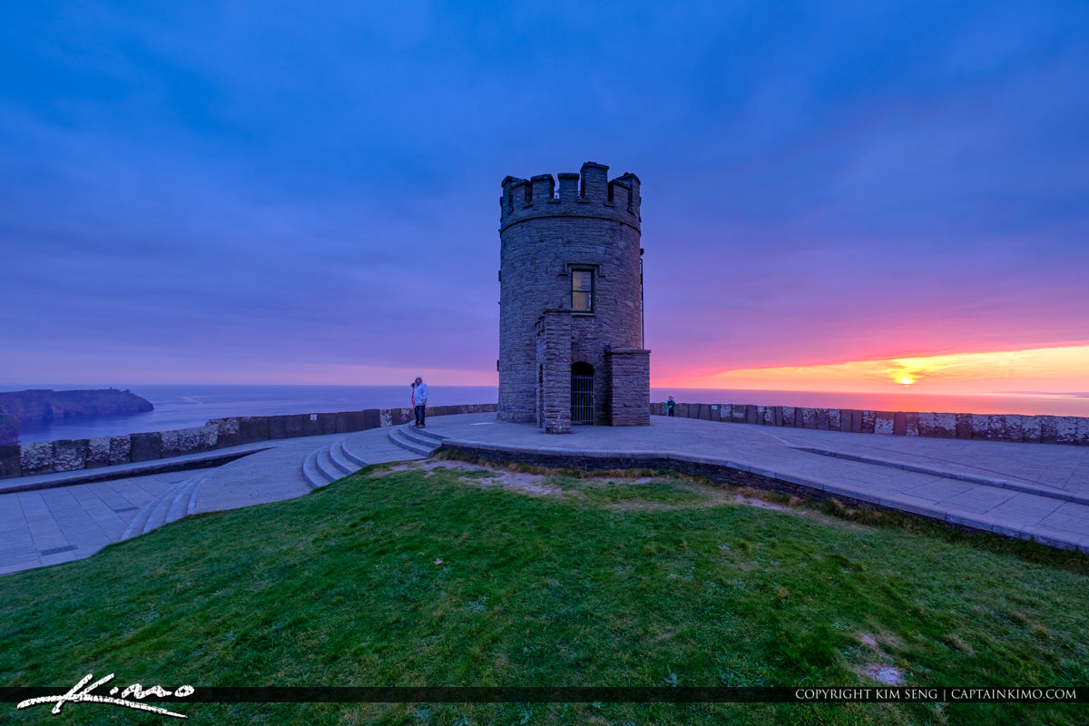 Tower View at Sunset Cliffs of Moher County Clare Ireland