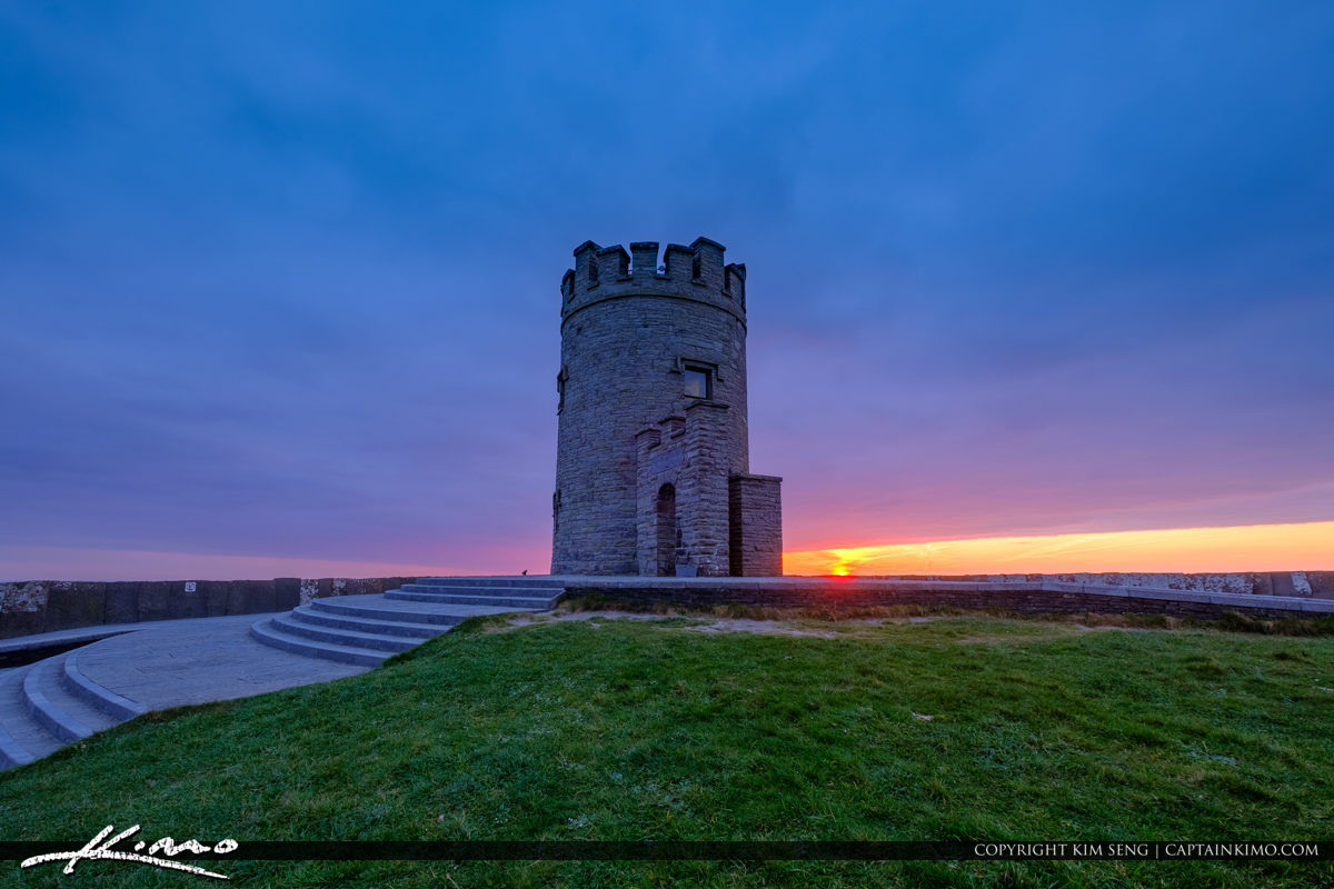 Sunset View from the Tower Cliffs of Moher County Clare Ireland