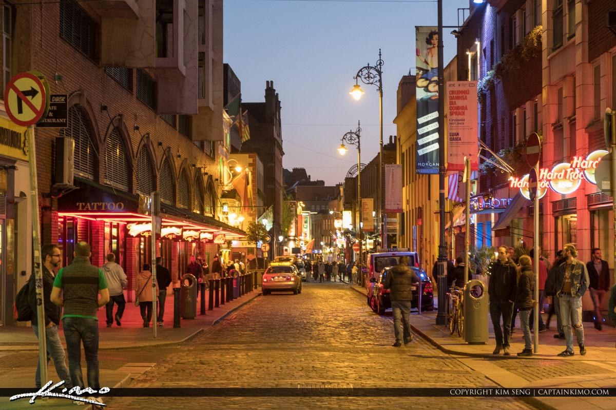 Dublin Republic of Ireland Street at Night with Bar