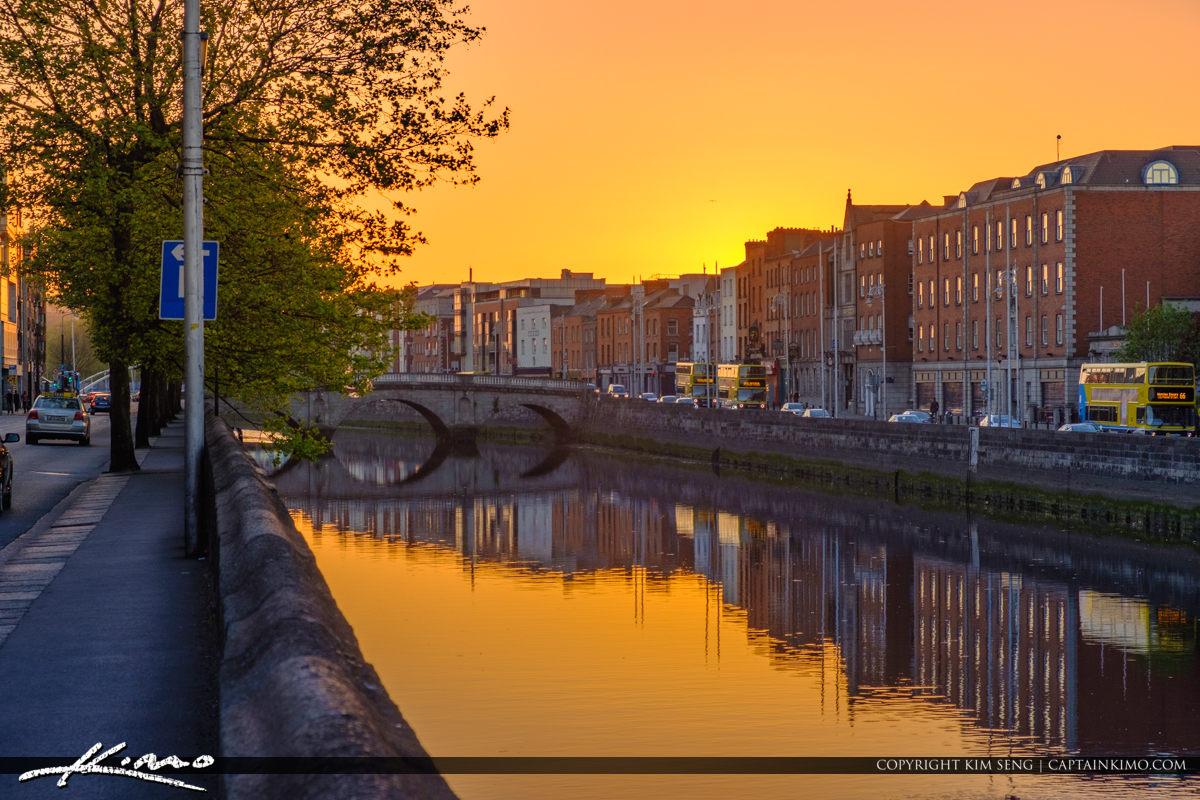 Warm Sunset Glow at the River Dublin Republic of Ireland