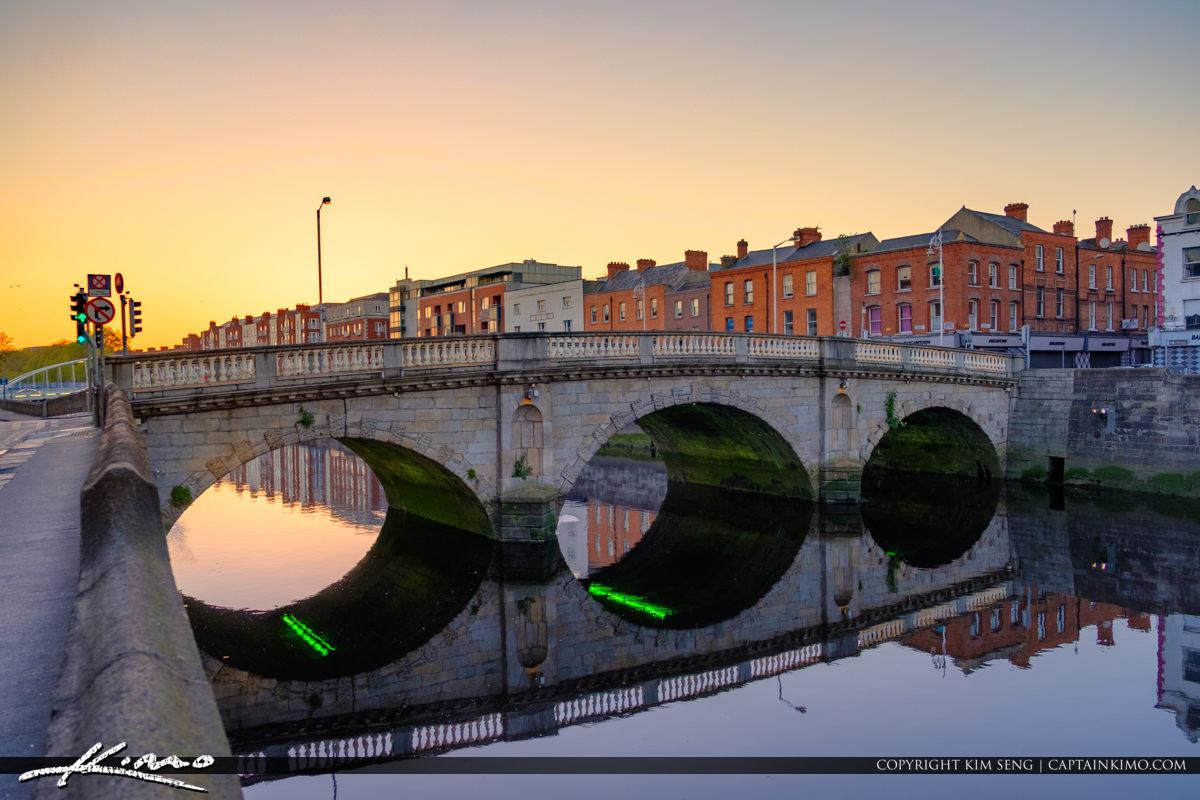 Cobble Stone Bridge Warm Sunset Glow Dublin Ireland