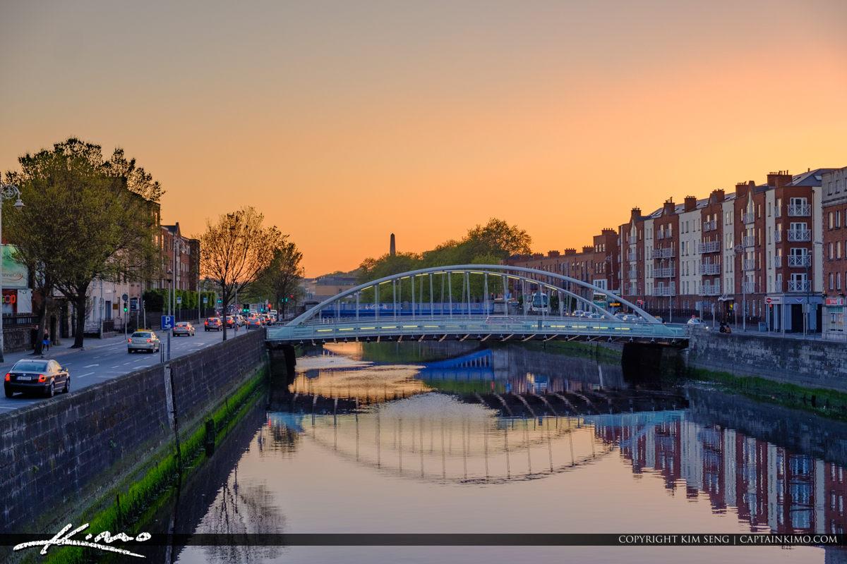 James Joyce Bridge Upclose River Liffey Dublin Republic of Irela