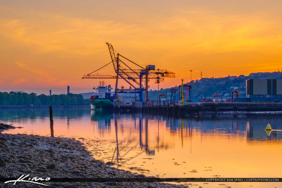 Port and Dock Cork Ireland Crane Loading Cargo Ship
