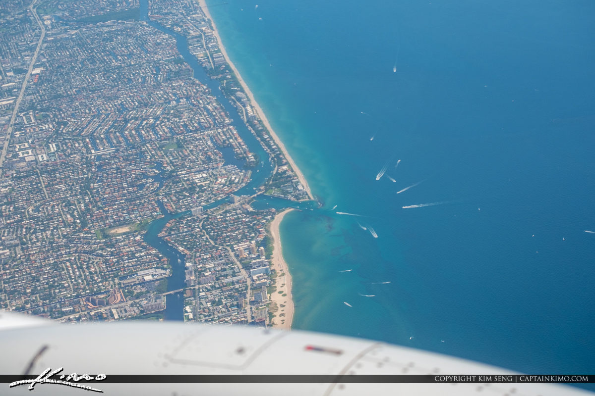 Hillsboro Inlet Pompano Beach from Airplane