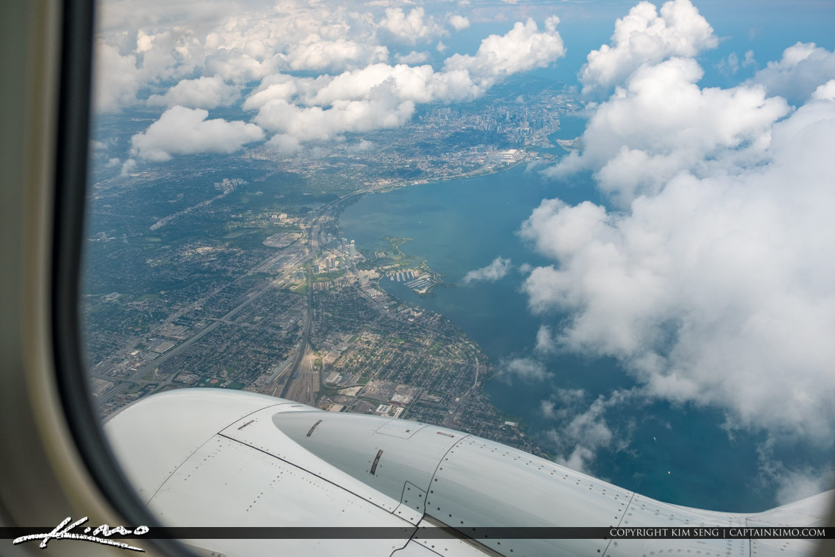 View of Toronto Canada from Airplane Window