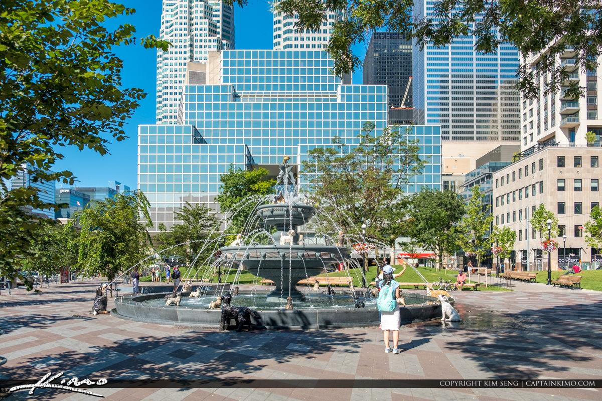 Dog Waterfountain Berczy Park Toronto ON Canada