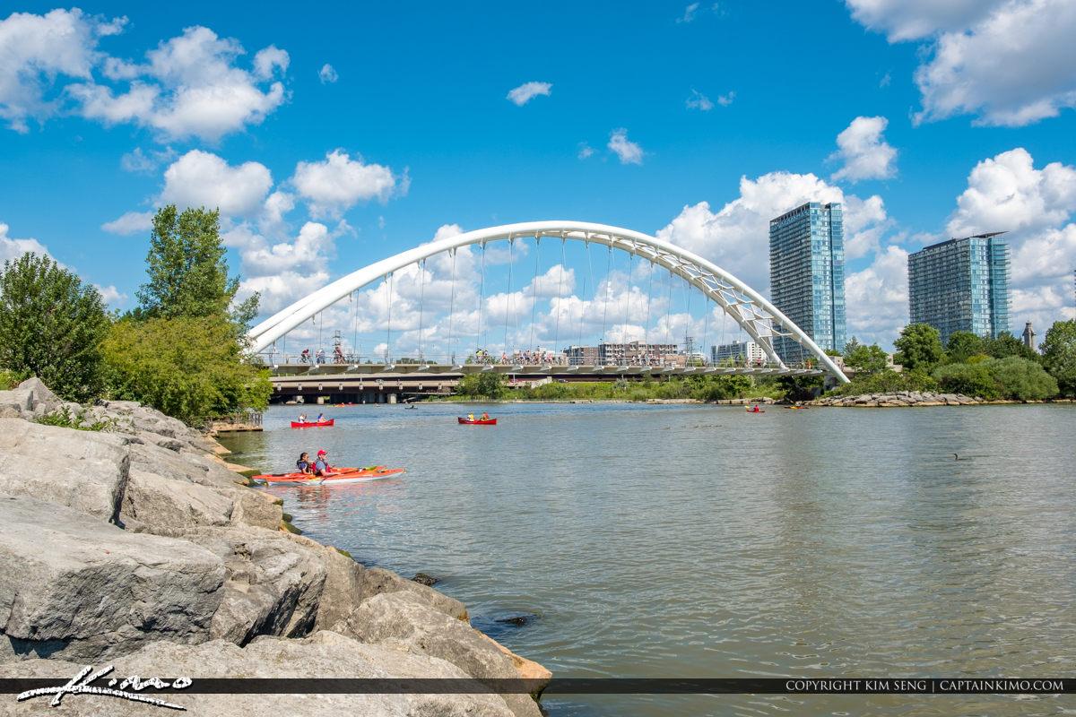 Kayaker Humber Bay Arch Bridge Martin Goodman Trail Toronto Cana