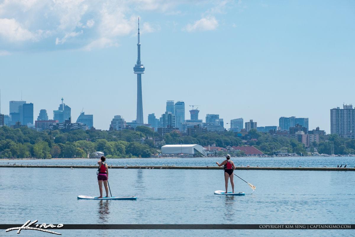 CN Tower Martin Goodman Trail Lake Ontario Canada Paddle Boarder
