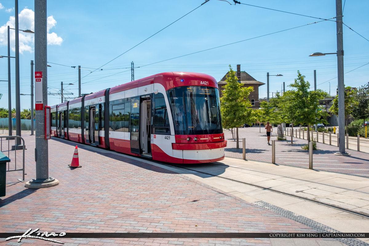 Distillery District Red Trolley Toronto Ontario Canada at Tracks