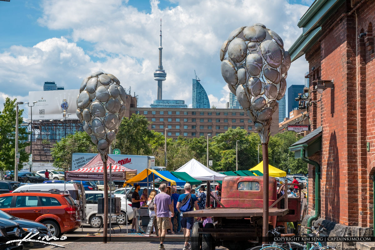 The Distillery District Toronto Canada Skyline CN Tower Bicycle