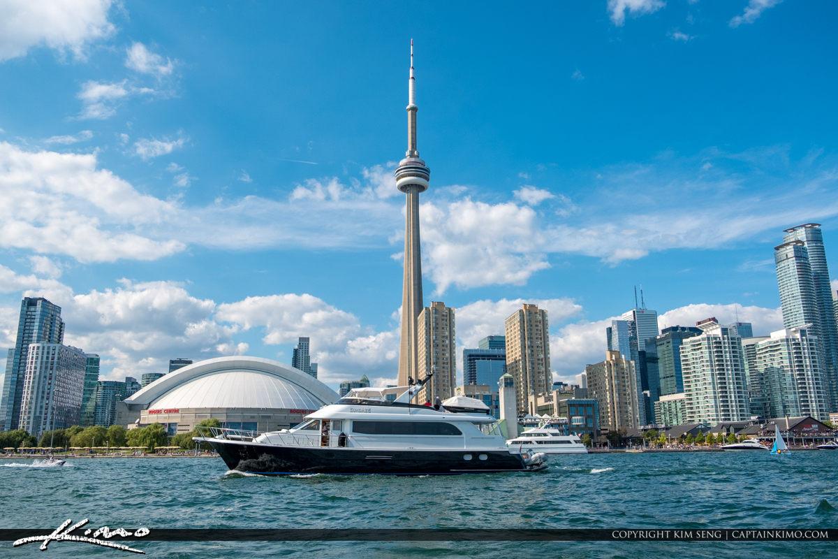 Waterway Large Yacht CN Tower Blue Sky Toronto Canada