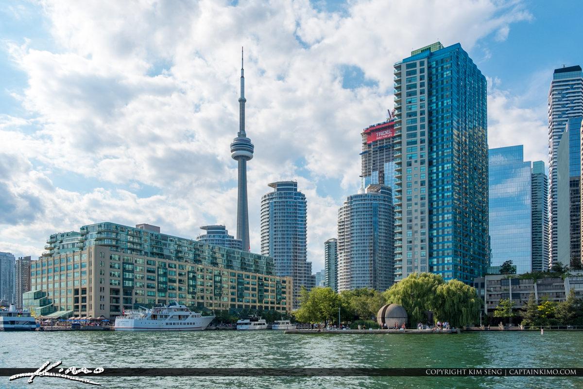Blue Sky Toronto Canada CN Tower Lake Ontario