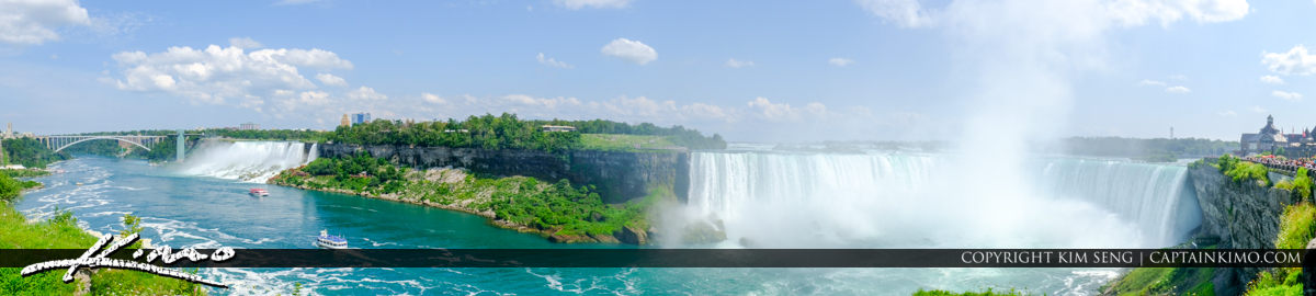 Panorama Rainbow Bridge and Horseshoe Falls Niagara Falls ON Can