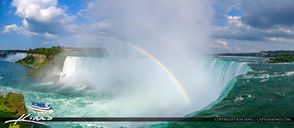 Maid of the Mist Panorama Rainbow Niagara Falls ON Canada