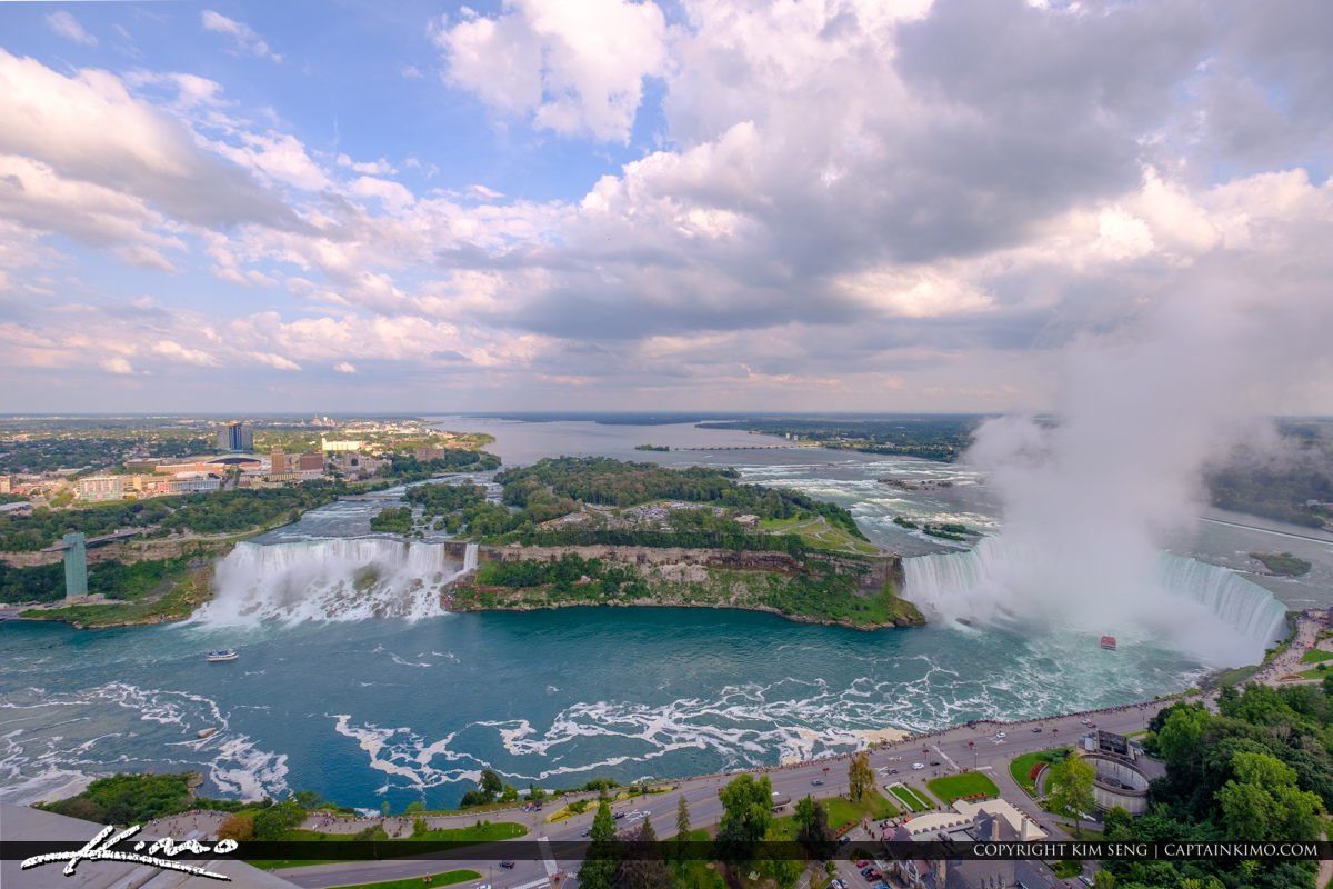 Skylon Tower Niagara Falls Ontario Canada View of Waterfall