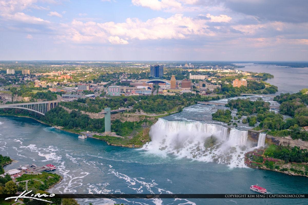 Skylon Tower Niagara Falls Ontario Canada American Falls and Rai