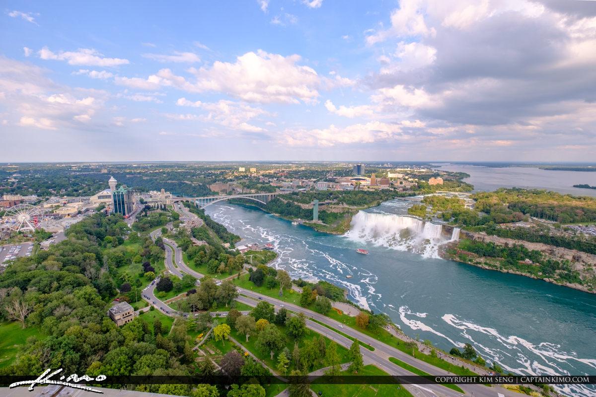 Skylon Tower Niagara Falls Ontario Canada Rainbow Bridge and Ame