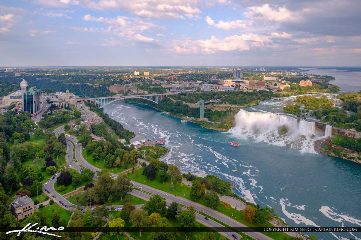 Skylon Tower Niagara Falls Ontario Canada Rainbow Bridge to USA