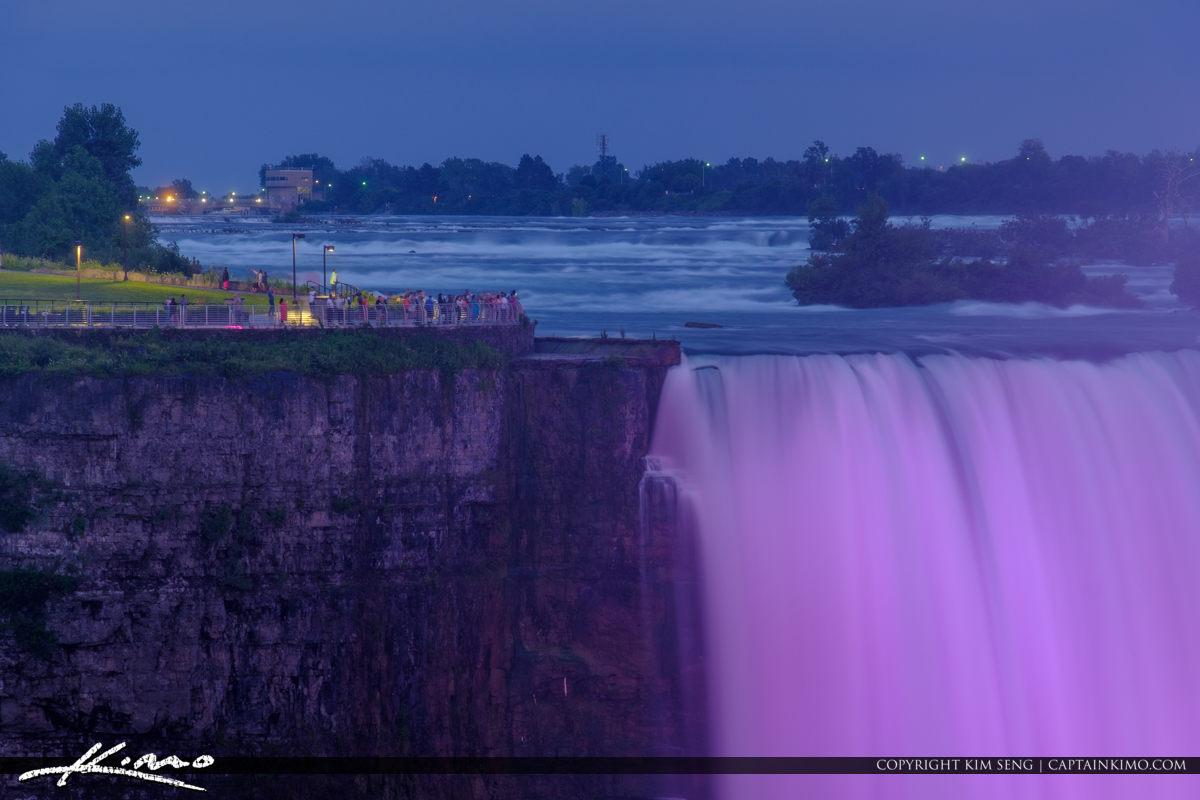 Niagara Falls Light Show Nighttime Canada Purple Lights Horsesho