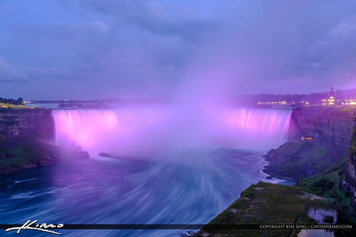 Niagara Falls Light Show Nighttime Canada Purple Lights Long Exp