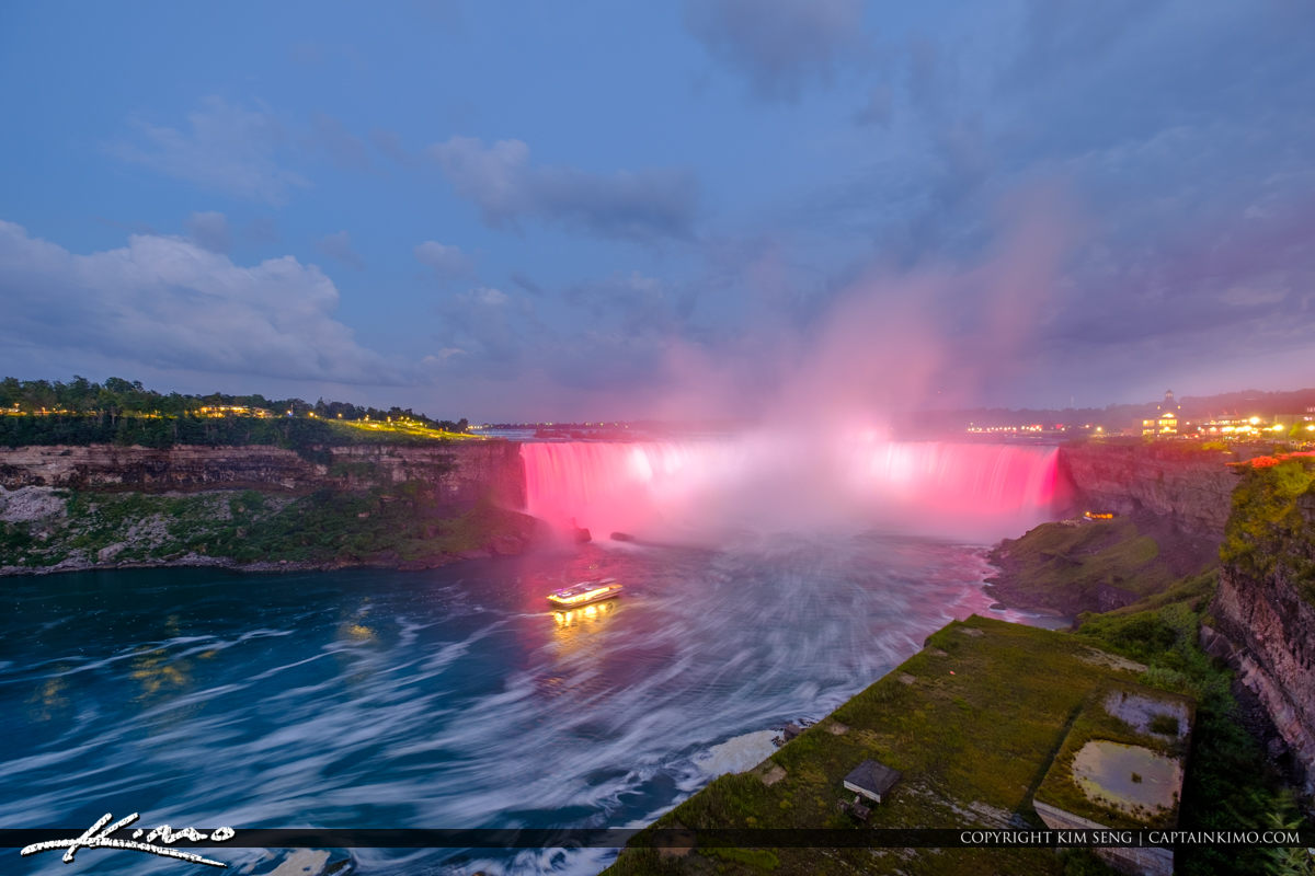 Niagara Falls Light Show Nighttime Canada Ferry at Night Red