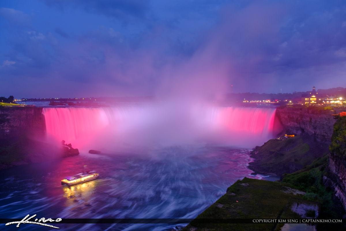 Niagara Falls Light Show Nighttime Canada Ferry at Night