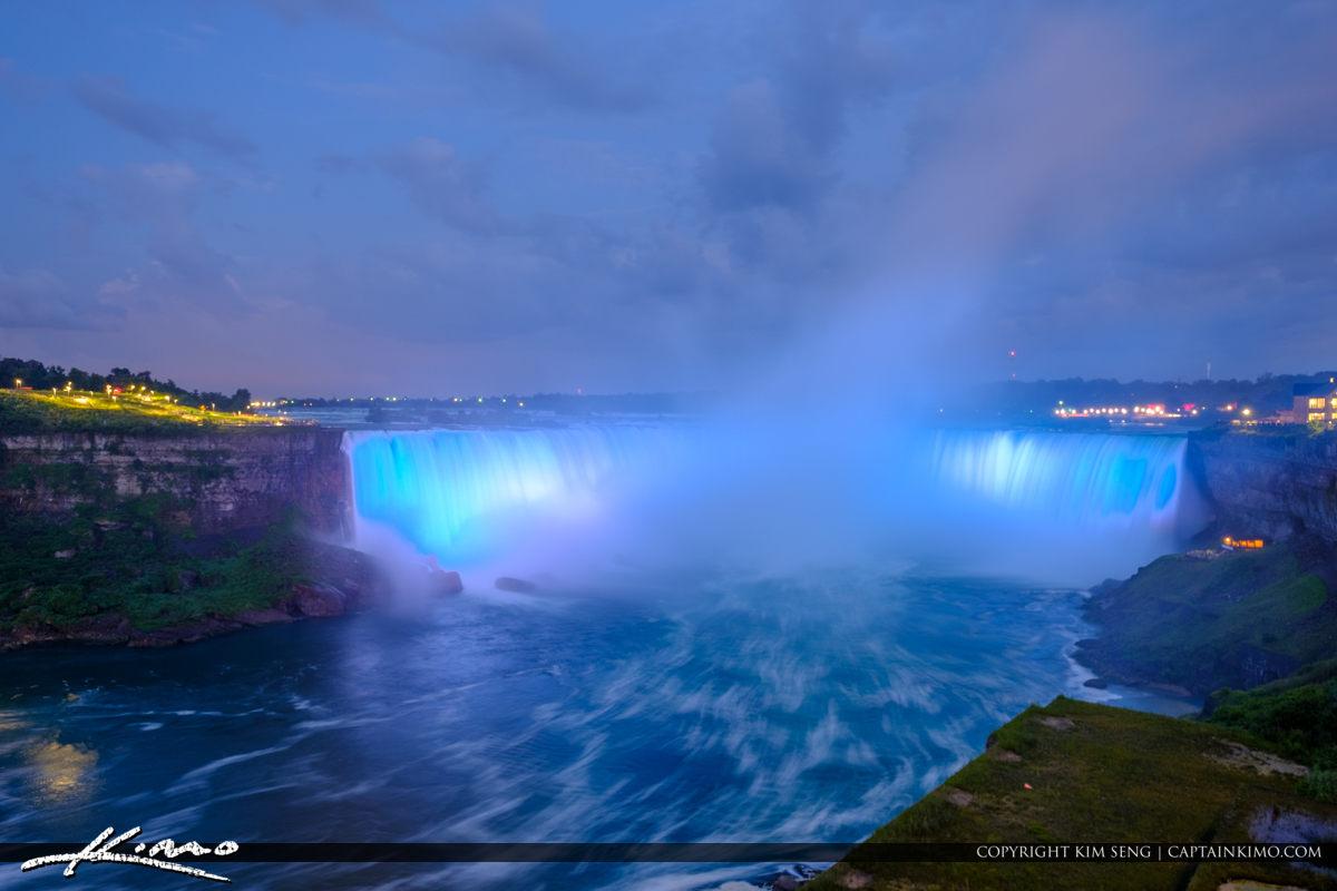 Niagara Falls Light Show Nighttime Canada Blue Lights Horseshoe