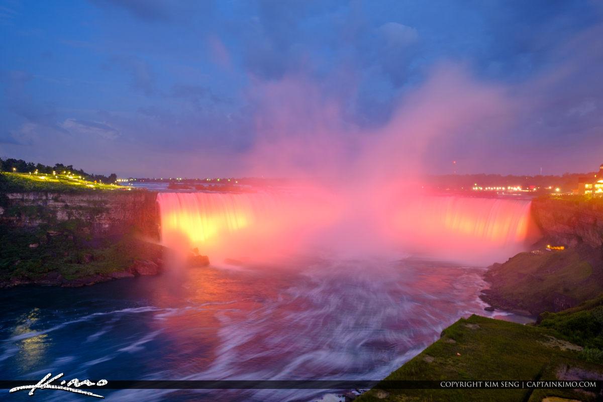 Niagara Falls Light Show Nighttime Canada Red Lights at Horsesho