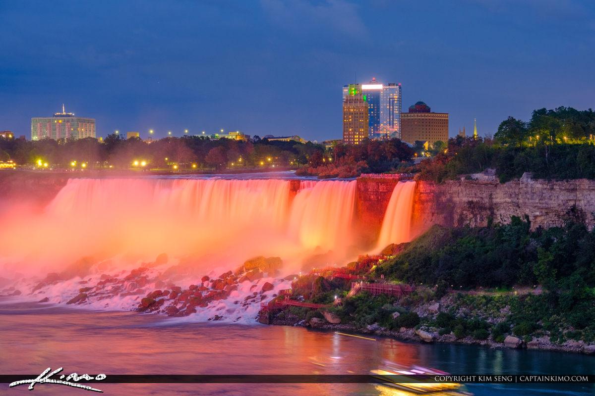 Red Lights at the America Falls Niagara Falls Light Show Nightti