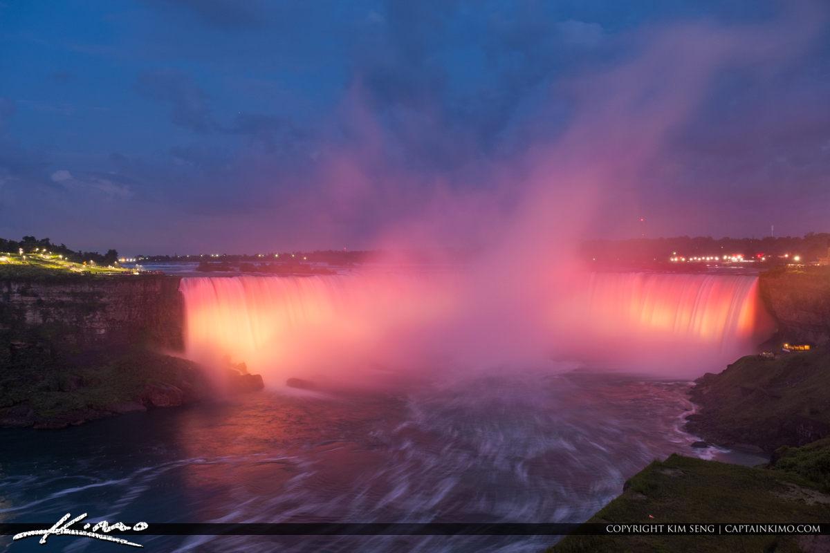 Red Lights Horseshoe Falls Niagara Falls Light Show Nighttime Ca