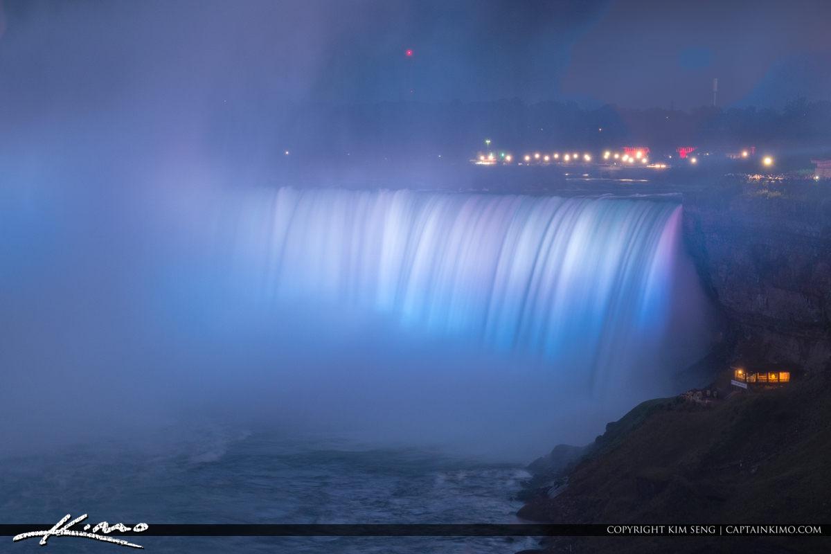 Blue Lights Niagara Falls Light Show Nighttime Canada