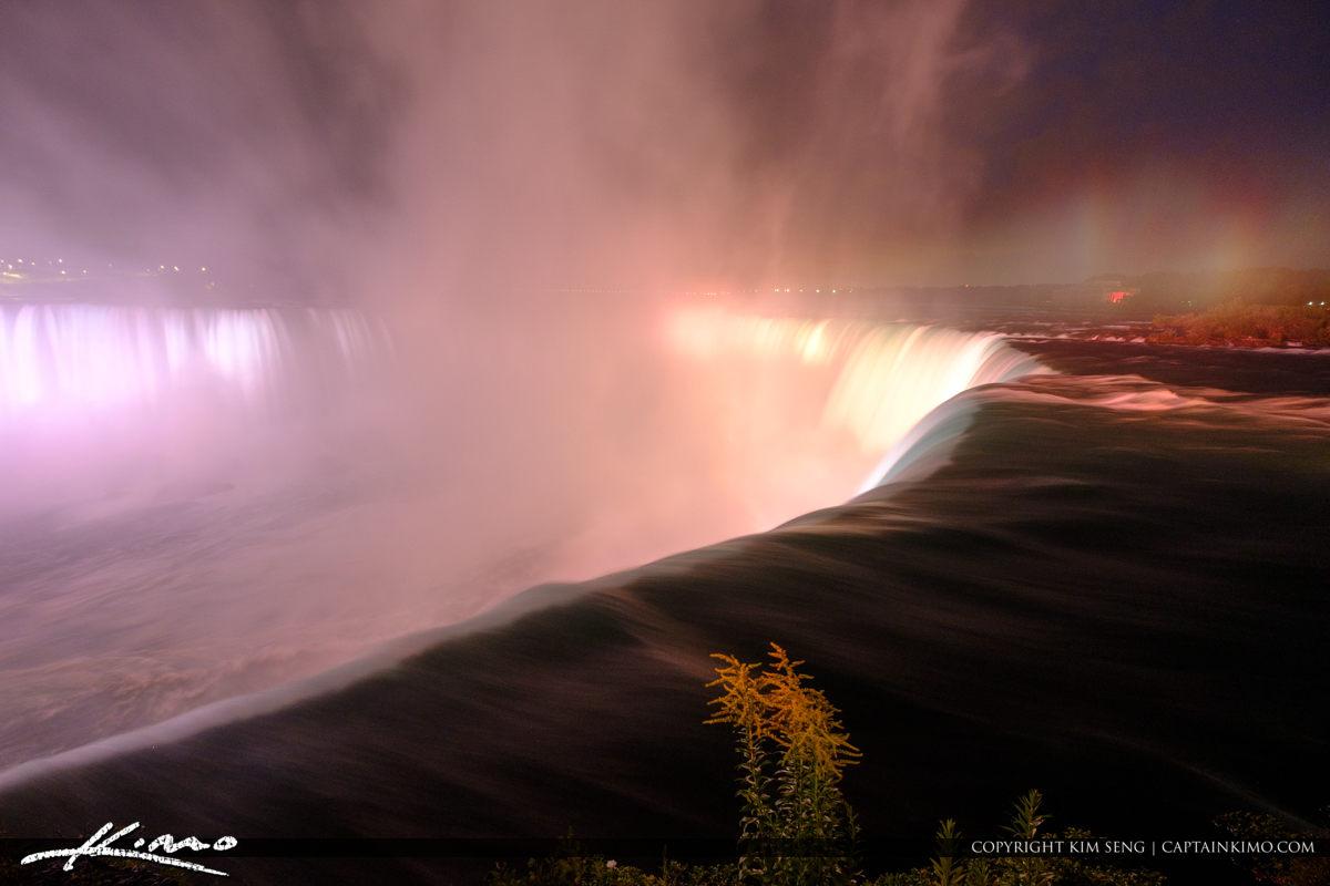 Ornage Color at Night Niagara Falls Light Show Nighttime Canada