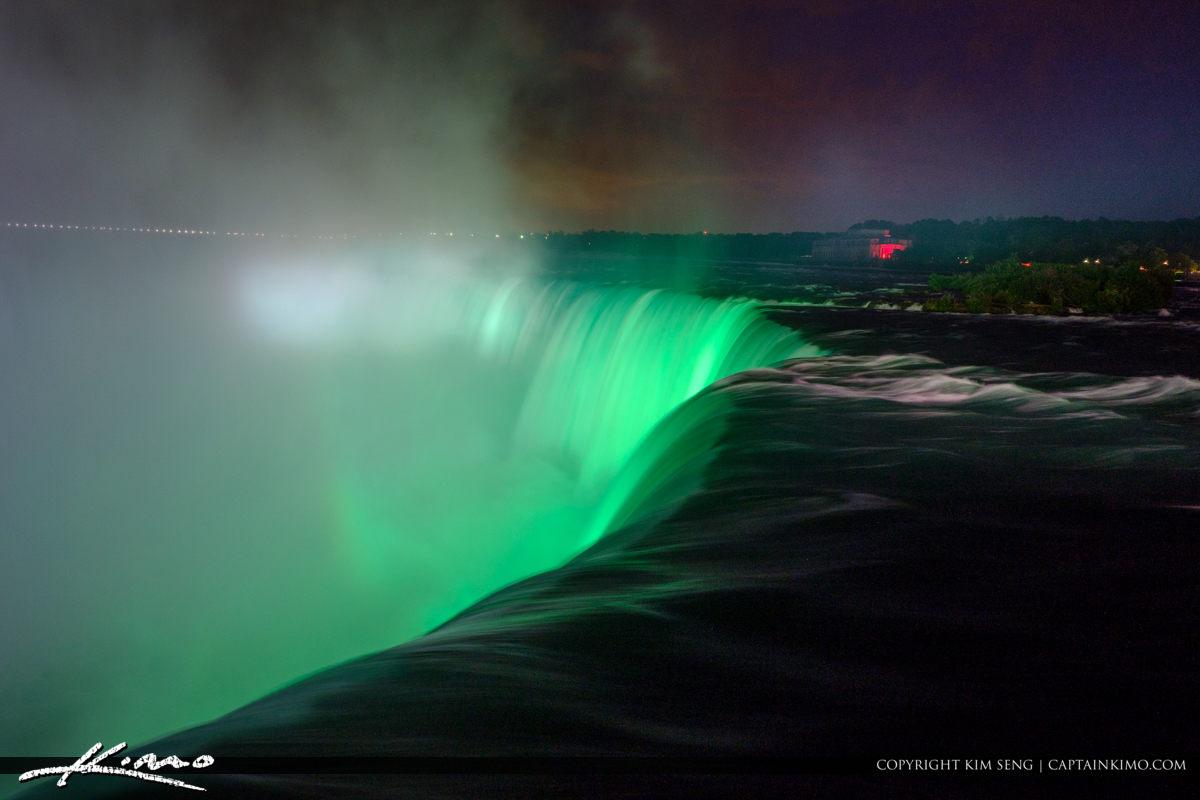Green Color Night Niagara Falls Light Show Nighttime Canada