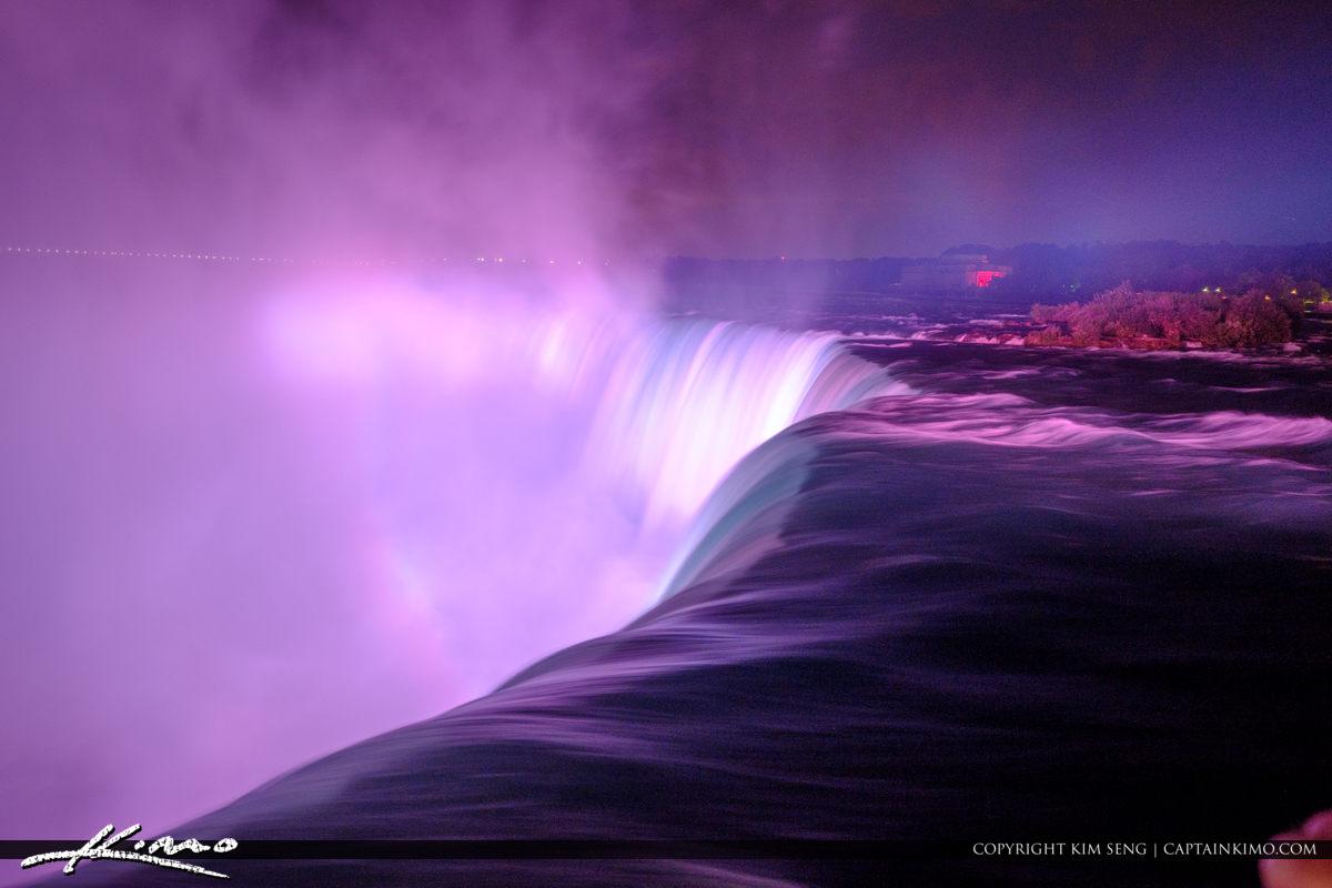 Niagara Falls Light Show Nighttime Canada Long Exposure
