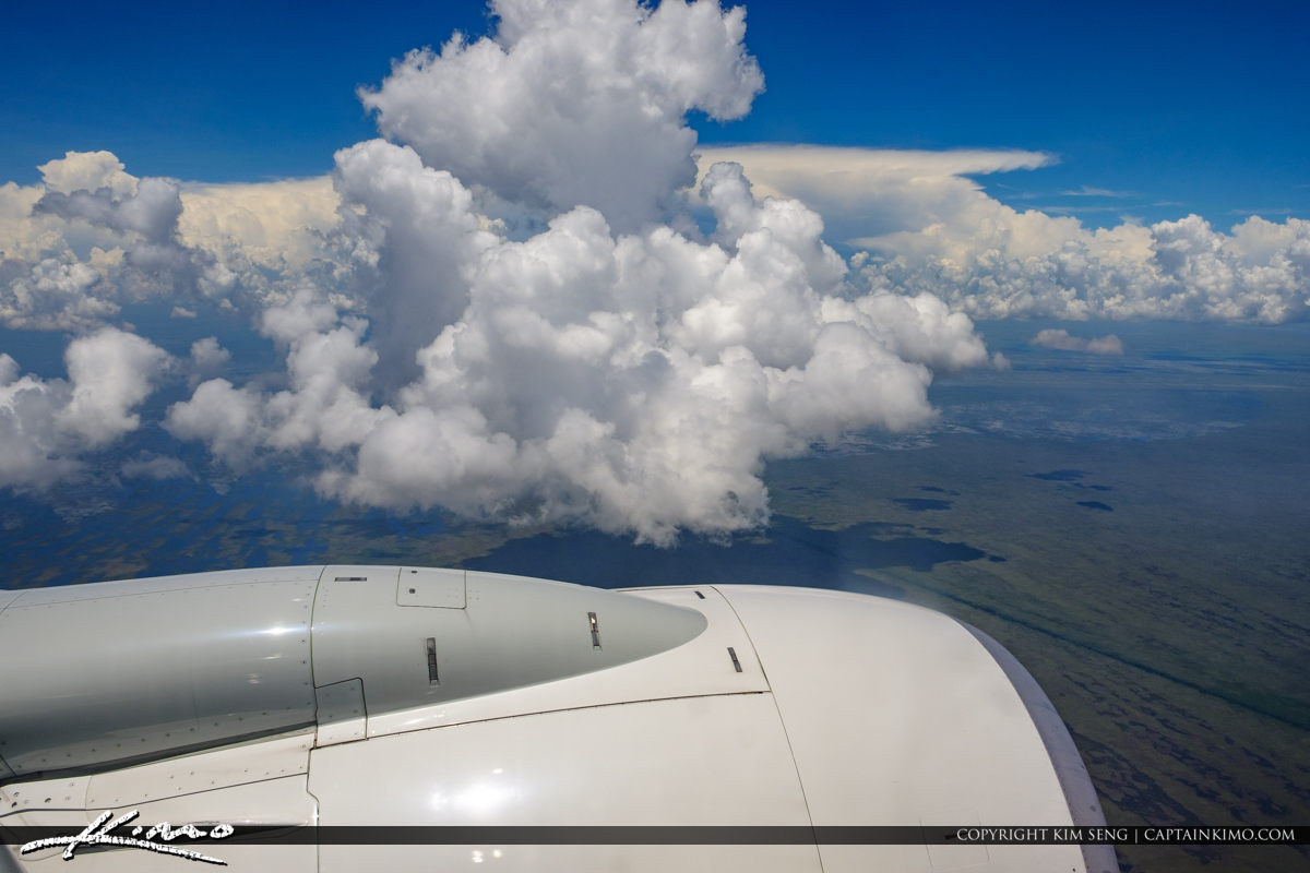 Airplane Window View Over Fort Lauderdale Over the Everglades