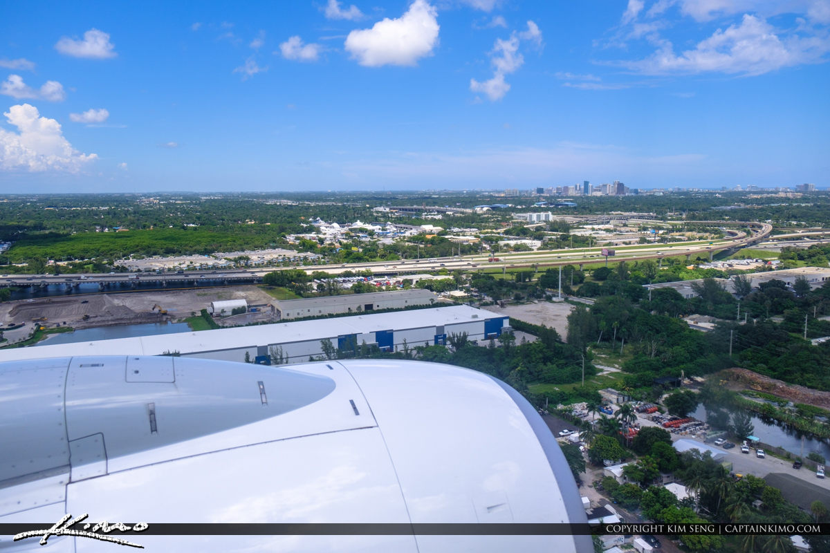 Airplane Window View Over Fort Lauderdale Looking at City