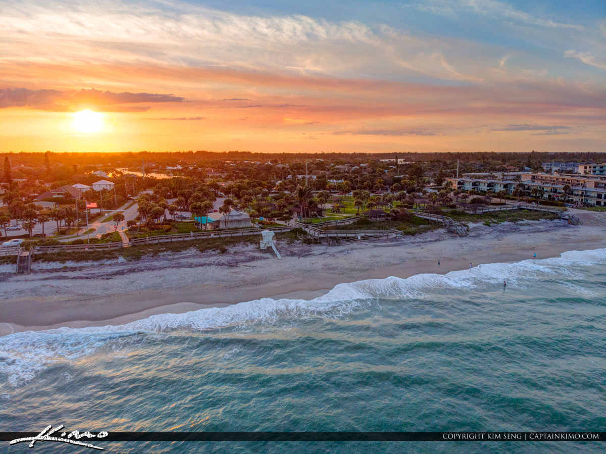 Beach Front Aerial Sunset Jaycee Park Vero Beach Florida