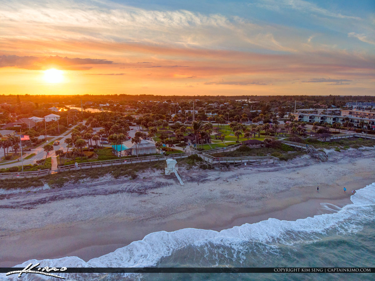 Parking Aerial Sunset Jaycee Park Vero Beach Florida