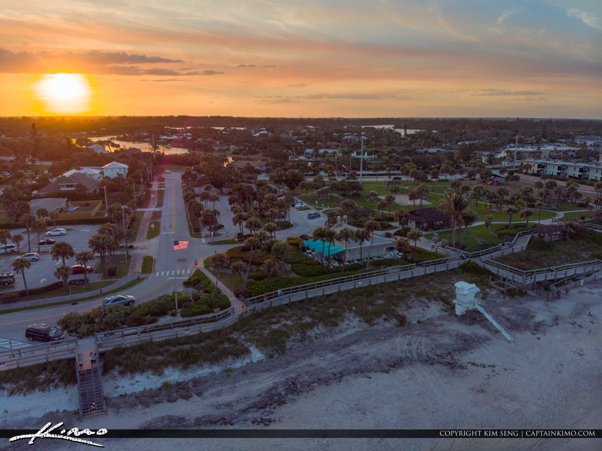 Flag Aerial Sunset Jaycee Park Vero Beach Florida