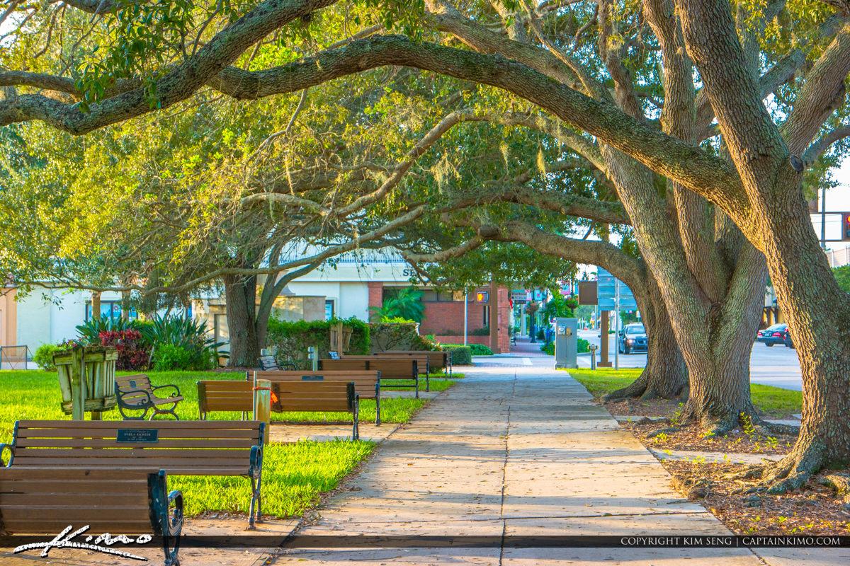 Pocahontas Park Historic Downtown Vero Beach Florida Bench Oak T
