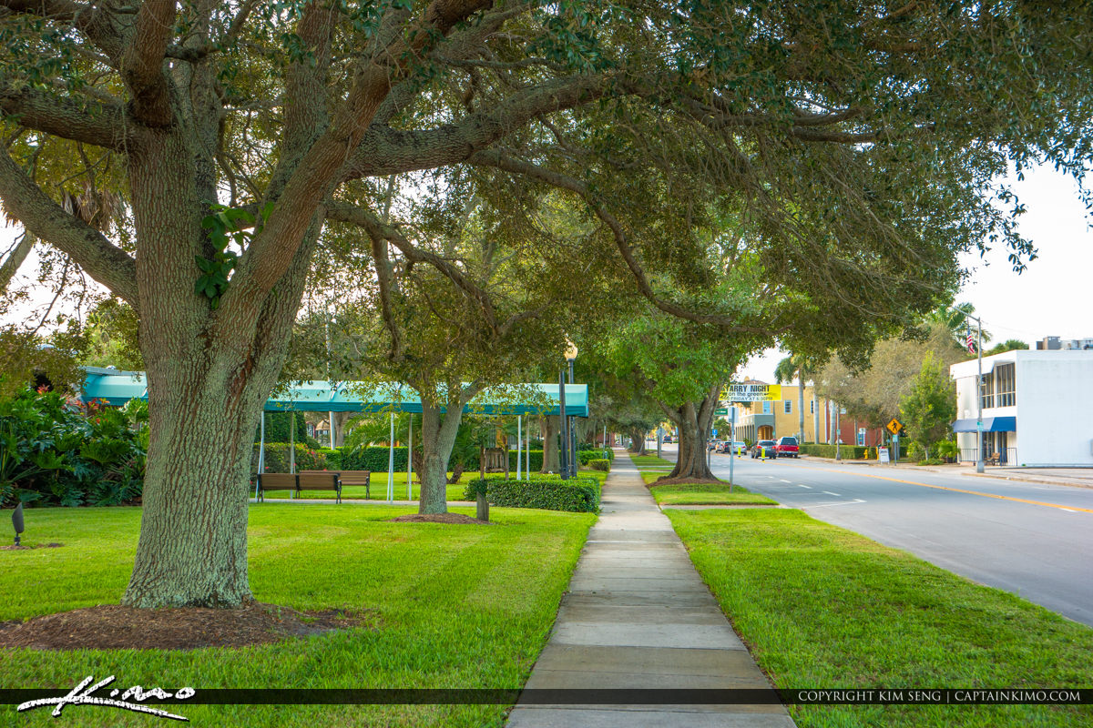 Pocahontas Park Historic Downtown Vero Beach Florida Sidewalk Oa