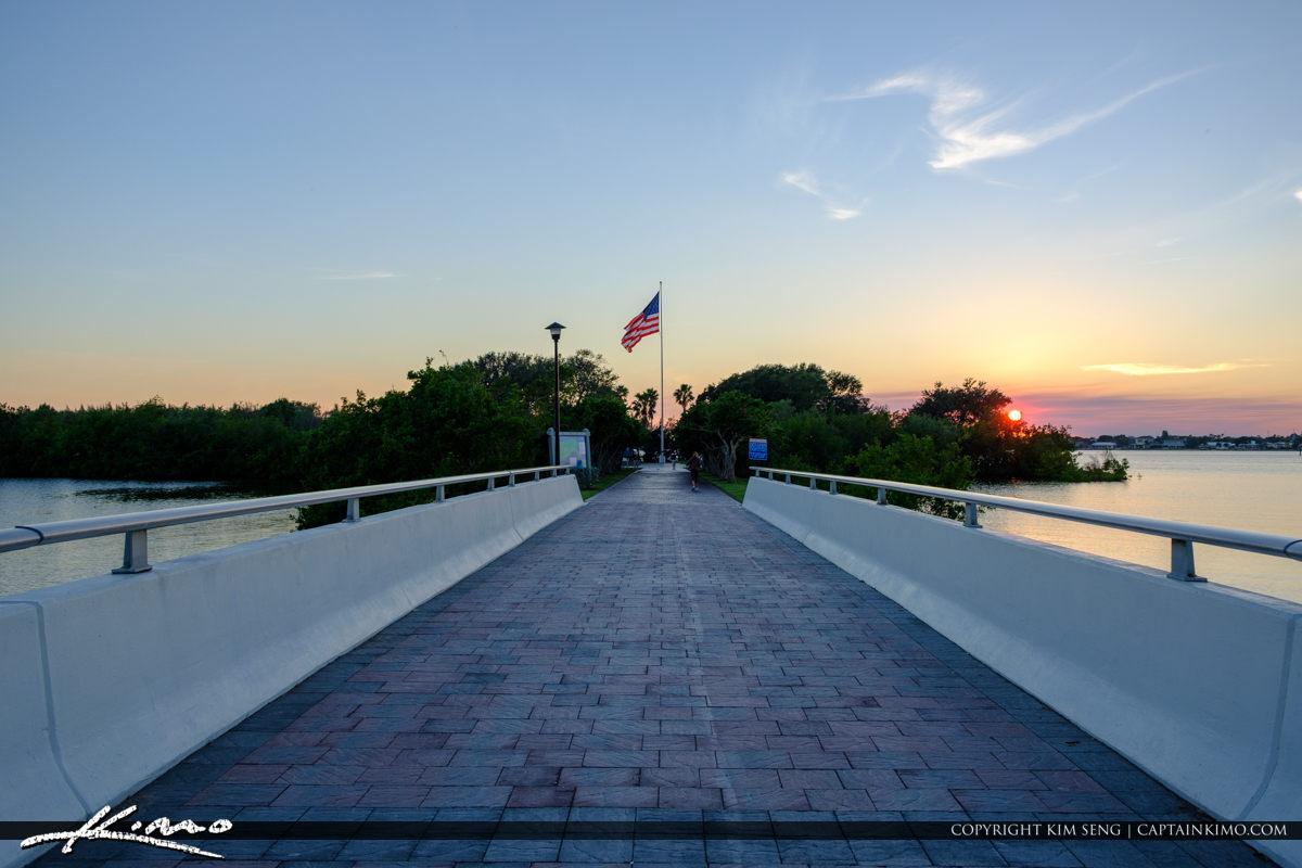 America Flag Sunset Veterans Memorial Park Vero Beach Florida