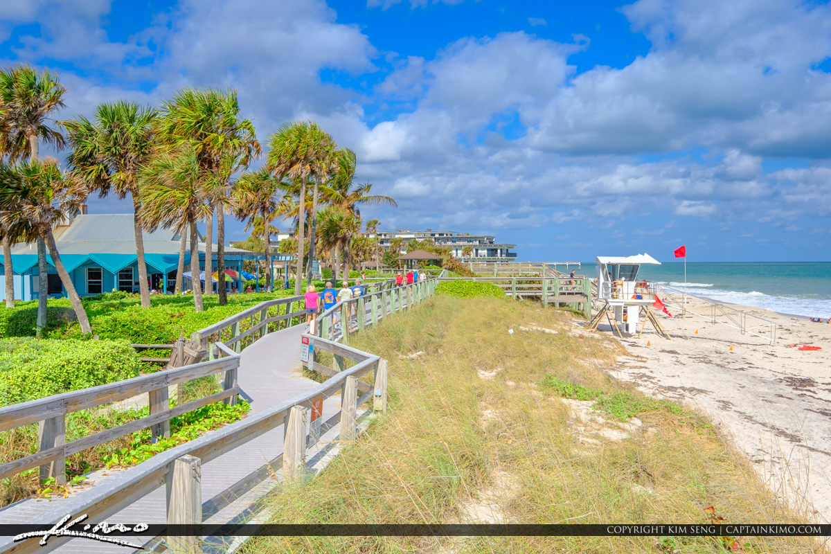 Boardwalk along Beach Blue Sky Jaycee Park Vero Beach Florida
